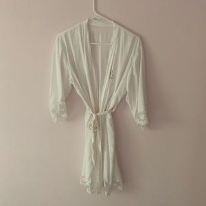 Other - Monogrammed white robe bridal lace